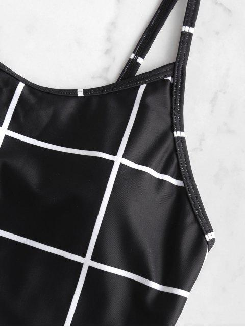 outfits ZAFUL Grid Open Back One-piece Swimsuit - BLACK S Mobile