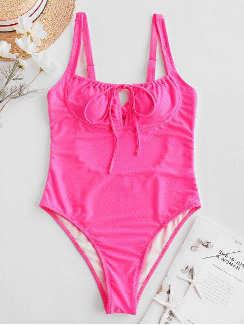 ladies ZAFUL Neon Tie Cutout High Cut One-piece Swimsuit - HOT PINK S Mobile