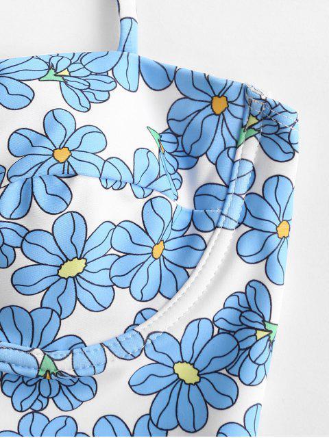 ZAFUL floral con aros de encaje panza de control de Tankini del traje de baño - Multicolor-A L Mobile