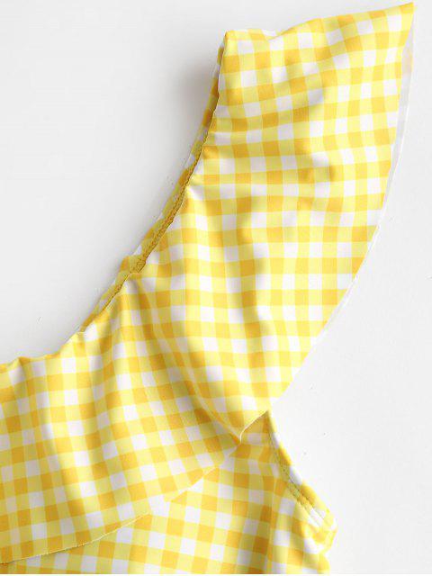 ZAFUL tela escocesa del volante de un hombro traje de baño de Tankini High Cut - Amarillo de Maíz L Mobile