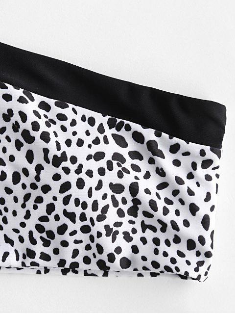 ZAFUL Maillot de Bain Bikini Découpé Dalmatien Imprimé à Une Epaule - Blanc M Mobile