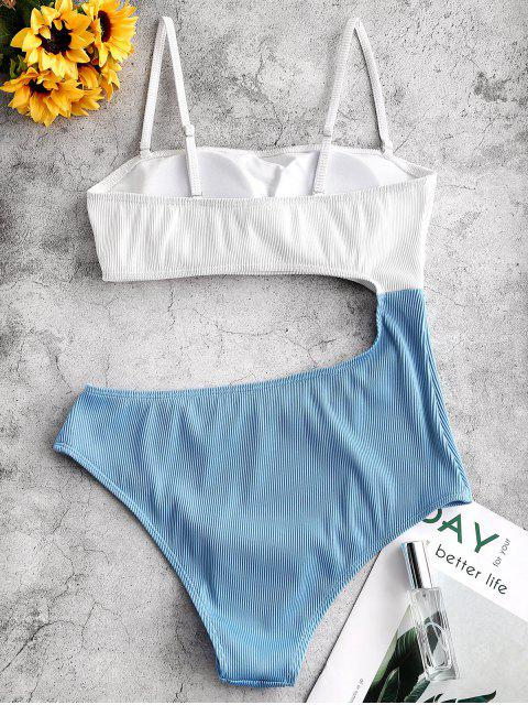lady ZAFUL Textured Ribbed Cutout Two Tone One-piece Swimsuit - LIGHT SKY BLUE M Mobile