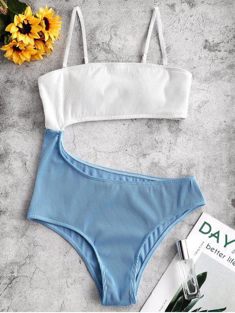 ZAFUL質感羅紋摳圖雙色連體泳衣 - 輕的天藍色 M Mobile
