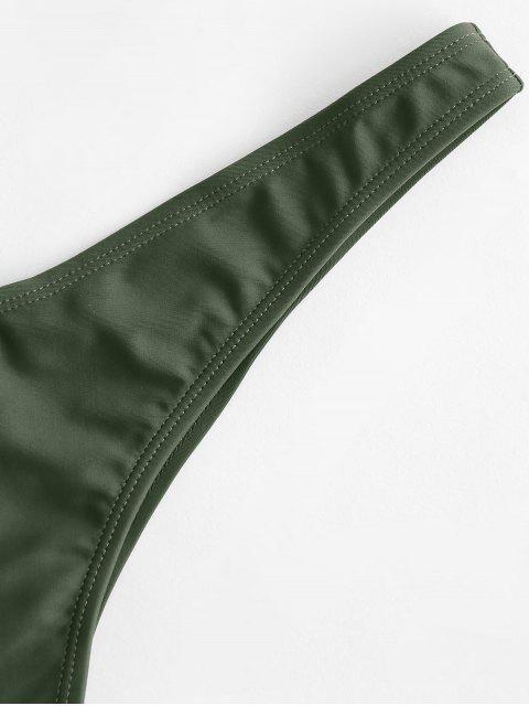 latest ZAFUL Cheeky High Leg Bikini Bottoms - CAMOUFLAGE GREEN S Mobile