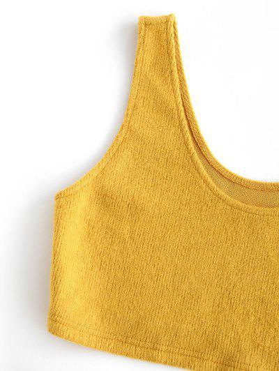 ZAFUL Crop Top and Mini Skirt Ribbed Knitwear Set, Bee yellow