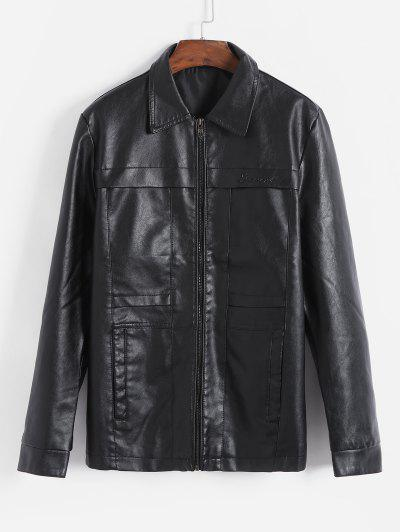 Solid Color Letter Print Casual Faux Leather Jacket - Black M