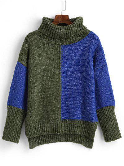 ZAFUL High Low Color Block Turtleneck Sweater - Multi S