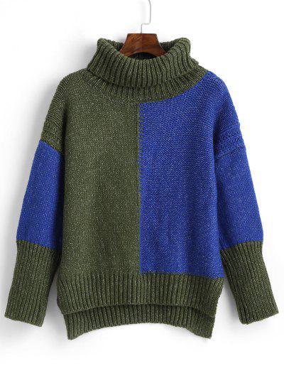 ZAFUL High Low Color Block Turtleneck Sweater - Multi M