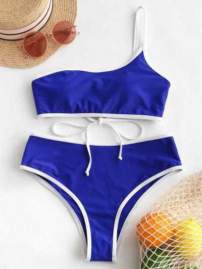 ZAFUL Contrast Piping Lace Up One Shoulder Bikini Swimwear - Cobalt Blue M
