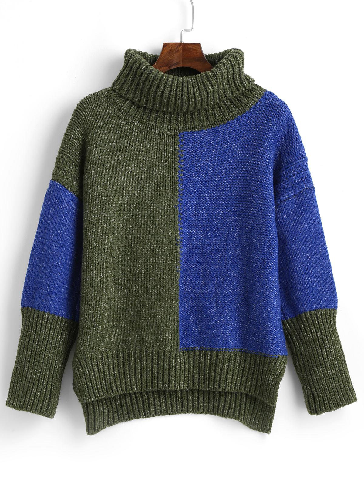 ZAFUL High Low Color Block Turtleneck Sweater