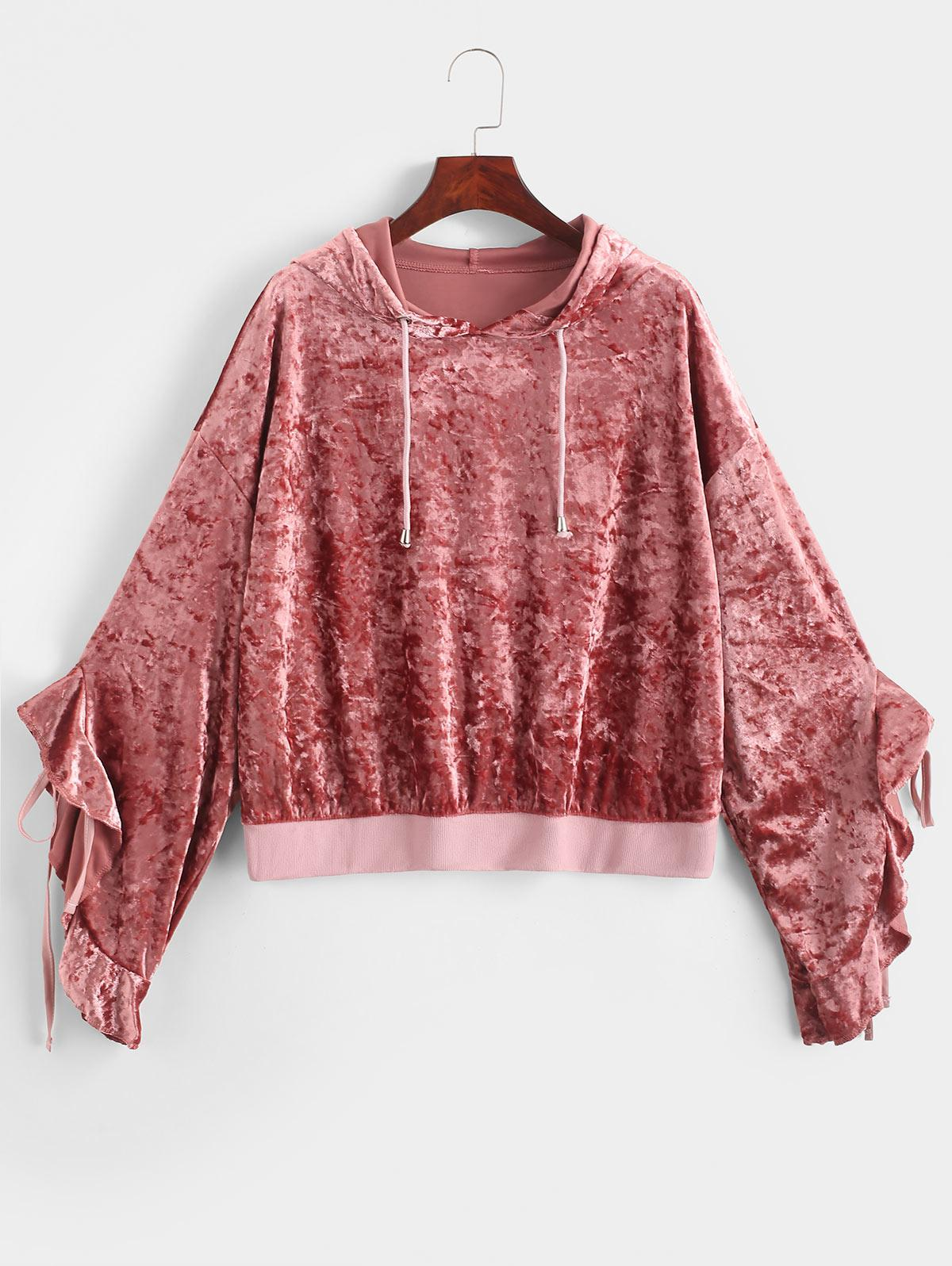 Crushed Velvet Ruffled Tie Drop Shoulder Hoodie фото