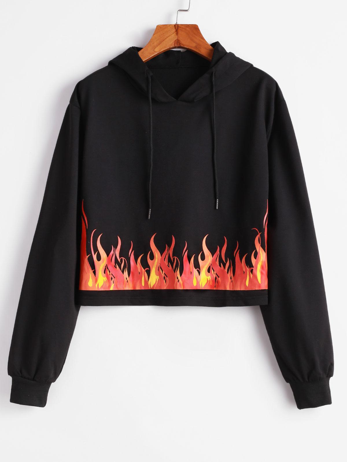 Flame Print Pullover Drop Shoulder Hoodie фото