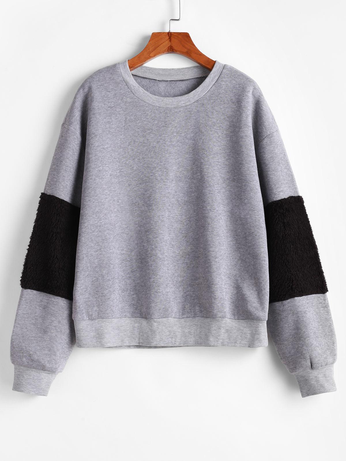 ZAFUL Flocking Fluffy Sleeve Two Tone Drop Shoulder Sweatshirt фото