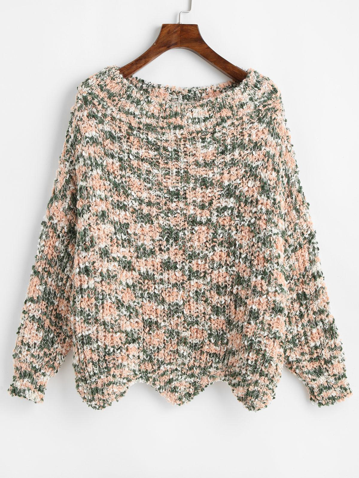 ZAFUL Wave Hem Contrast Chunky Sweater