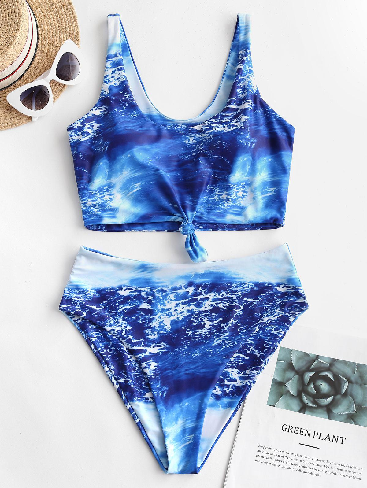 ZAFUL Knot Seawater Print Tankini Swimsuit фото