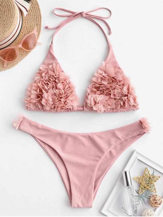buy ZAFUL Petal Flower Halter Bralette Bikini Swimsuit - ROSE S