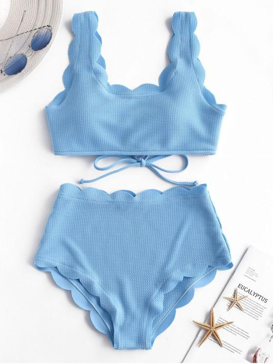 affordable ZAFUL Scalloped Textured High Waisted Bikini Set - DAY SKY BLUE L