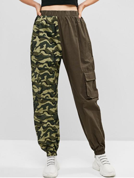 unique ZAFUL Camouflage Contrast Pocket Casual Jogger Pants - MULTI XL