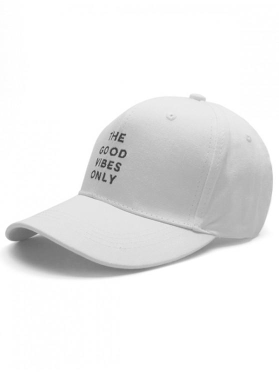 fashion Casual Letters Embroidery Baseball Cap - WHITE