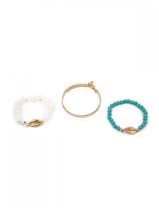 fancy Shell Turquoise Beads Bracelet Set - GOLD