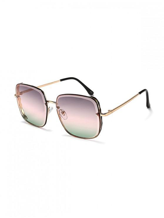 Gafas de sol cuadradas gradientes con borde ondulado de metal - Multicolor-B