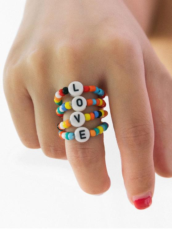 online Colored Beaded Letter Design Ring Set - MULTI-A