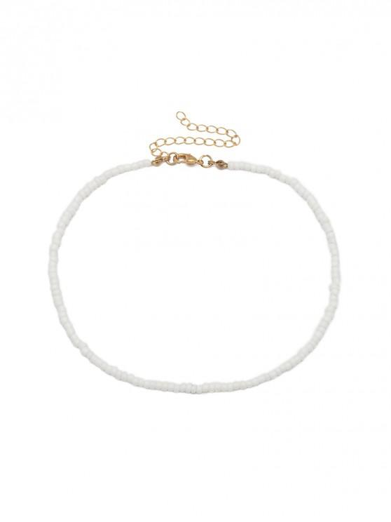 shop Simple Beaded Necklace - WHITE