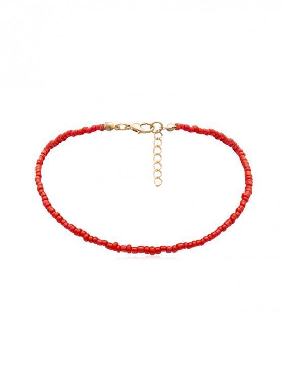 簡約串珠項鍊 - 紅
