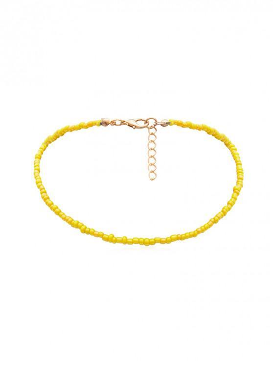簡約串珠項鍊 - 黃色