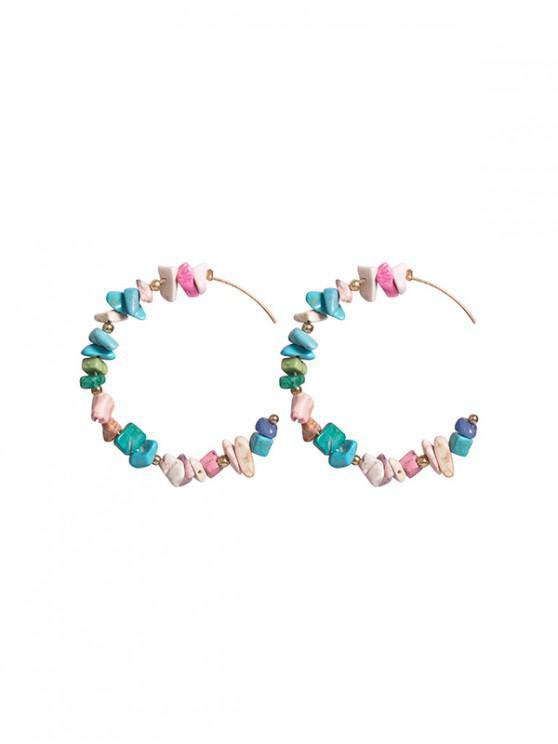 womens C Shape Irregular Stone Beaded Earrings - MULTI-B