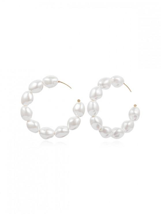 lady C Shape Faux Pearl Round Earrings - GOLD