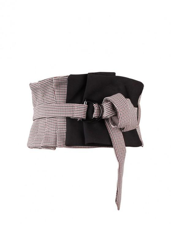 buy Houndstooth Pattern Wide Waist Belt - BLACK