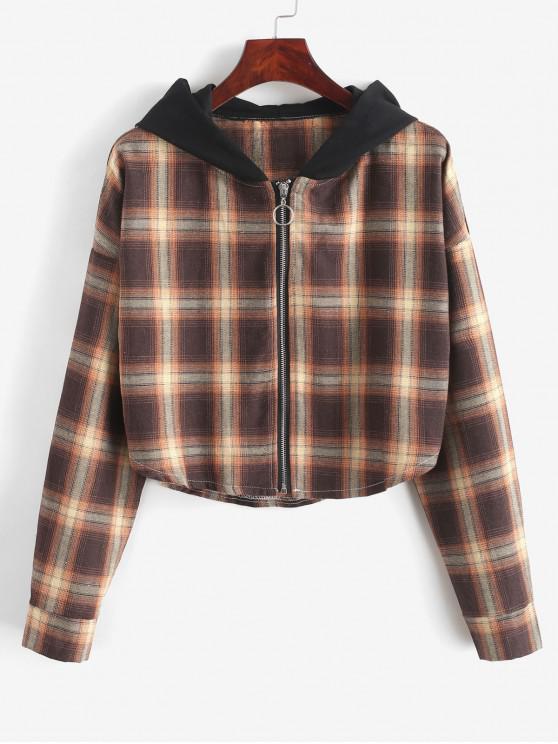 latest ZAFUL Plaid Curved Hem Crop Hooded Jacket - MULTI M