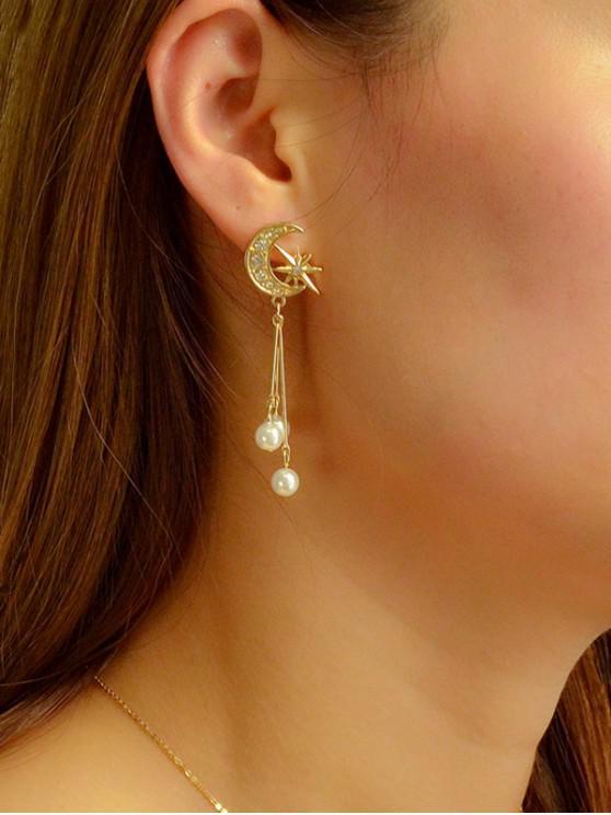 womens Star Moon Rhinestone Faux Pearl Earrings - GOLD