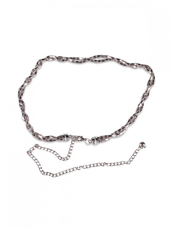 womens Metal Chain Waist Belt - SILVER
