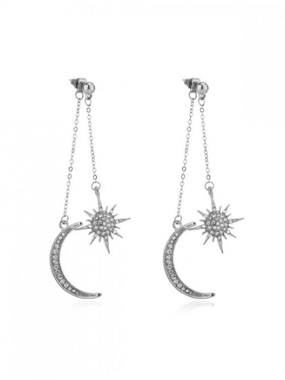 lady Moon Star Rhinestone Tassel Earrings - SILVER