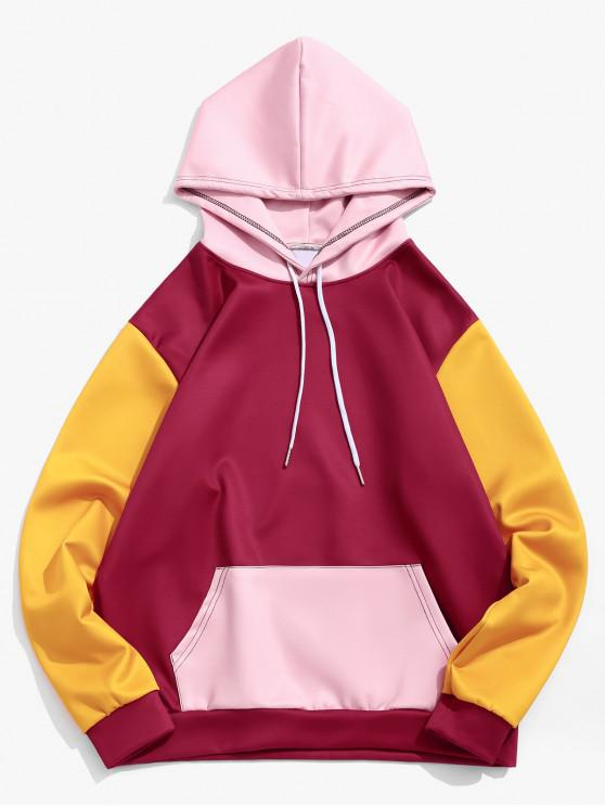 ladies Colorblock Cut and Sew Kangaroo Pocket Hoodie - FIREBRICK 3XL