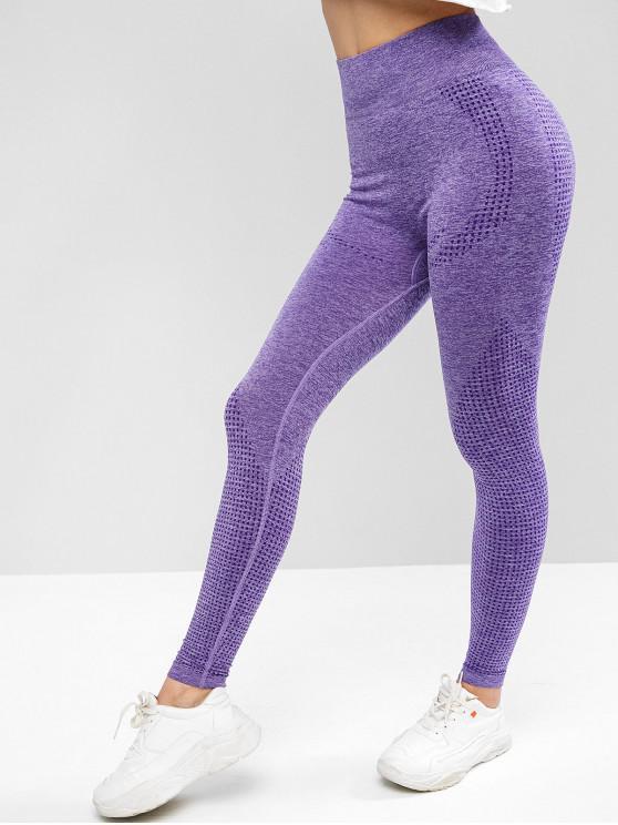 affordable Space Dye Wide Waistband Yoga Gym Leggings - PURPLE MIMOSA M