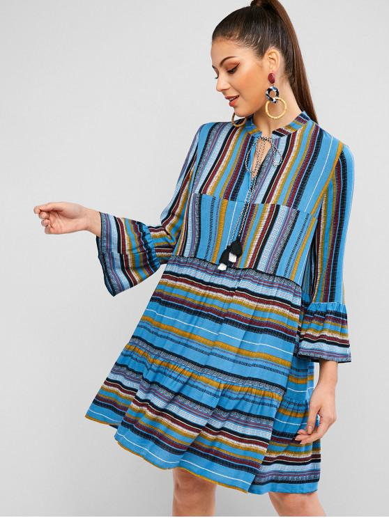best ZAFUL Striped Bell Sleeve Tassel Smock Dress - MULTI M