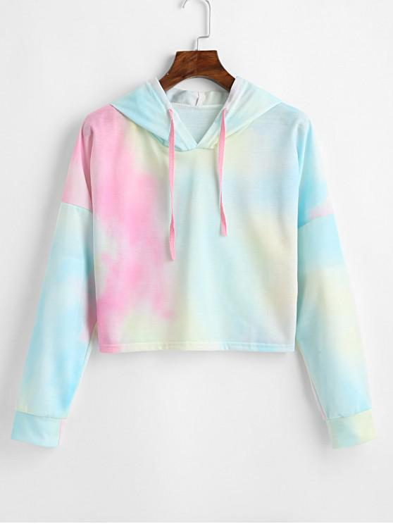 affordable Ombre Crop Drawstring Loose Hoodie - MULTI L