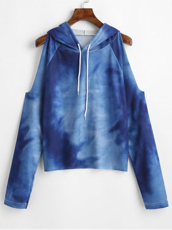 unique Cold Shoulder Ombre Drawstring Hoodie - MULTI L