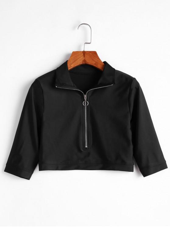 Camiseta sólida con cuello alto y cierre frontal - Negro S
