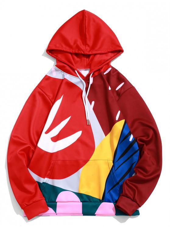 fancy Color Block Pattern Graphic Print Pullover Kangaroo Pocket Hoodie - RED WINE M