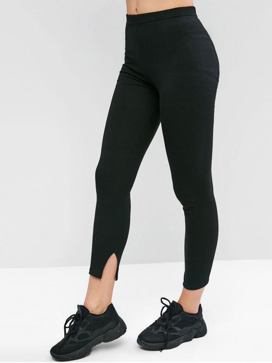 new Slits Ribbed Solid Leggings - BLACK L