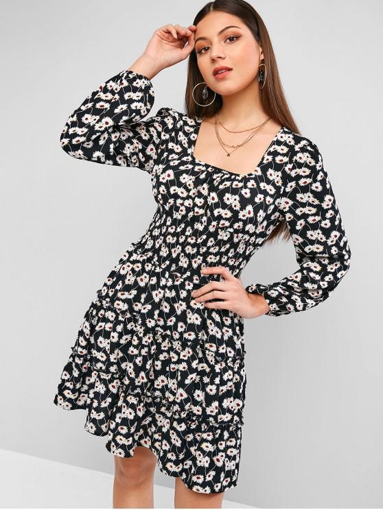 ZAFUL Robe Fleurie Imprimée à Taille Plissée à Volants - Noir XL