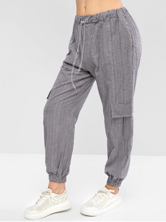 hot Gingham Chains Drawstring Jogger Pants - MULTI-B S