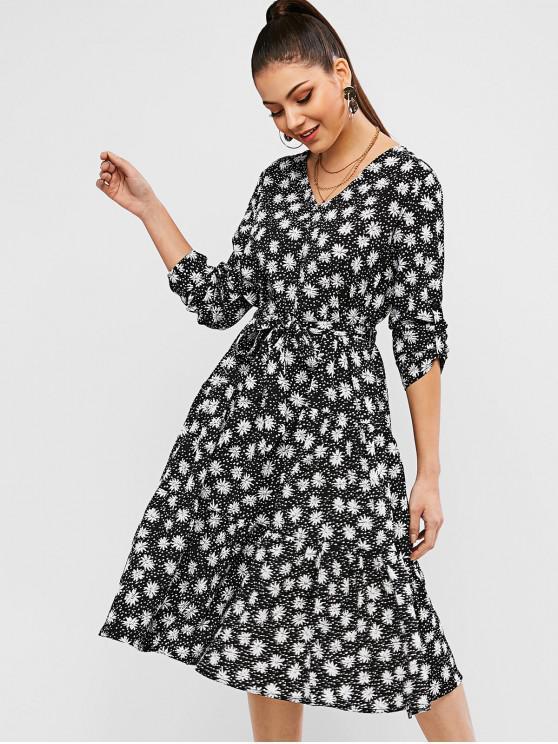 women Belted Long Sleeve Floral Midi Dress - BLACK L