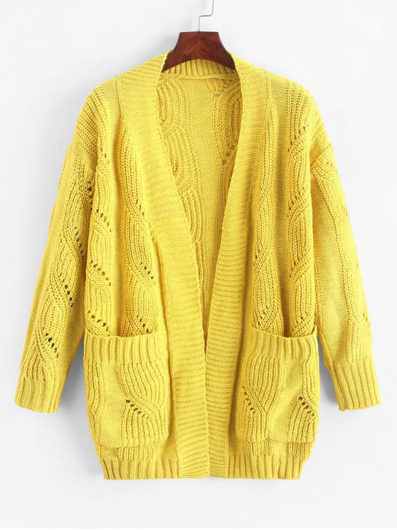 lady Open Front Pockets Pointelle Knit Cardigan - YELLOW ONE SIZE