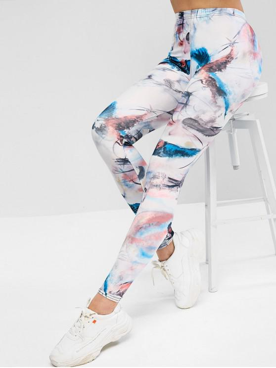 fancy Pull On Parrots Print High Waisted Leggings - MULTI ONE SIZE
