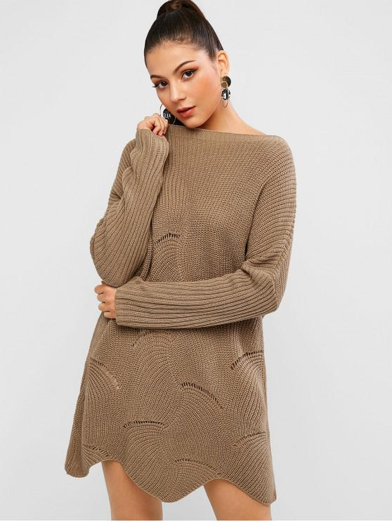 affordable Pointelle Knit Wave Hem Solid Sweater Dress - WOOD L